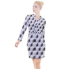 Cube Isometric Button Long Sleeve Dress