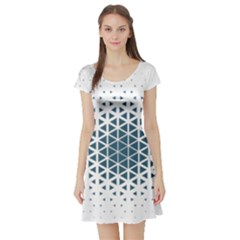 Business Blue Triangular Pattern Short Sleeve Skater Dress