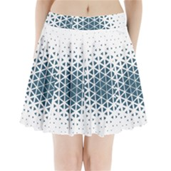 Business Blue Triangular Pattern Pleated Mini Skirt