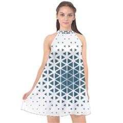 Business Blue Triangular Pattern Halter Neckline Chiffon Dress  by Mariart