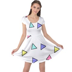 Color Triangle Wallpaper Cap Sleeve Dress