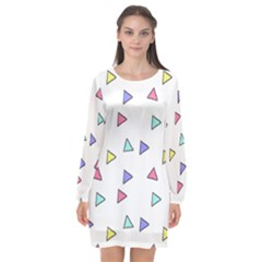 Color Triangle Wallpaper Long Sleeve Chiffon Shift Dress