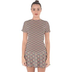 Chevron Retro Pattern Vintage Drop Hem Mini Chiffon Dress by Jojostore
