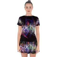 Brush Particles Music Clef Wave Drop Hem Mini Chiffon Dress