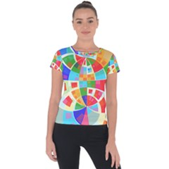 Circle Background Short Sleeve Sports Top  by AnjaniArt