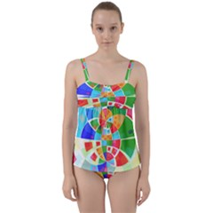 Circle Background Twist Front Tankini Set