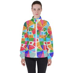 Circle Background High Neck Windbreaker (women) by AnjaniArt