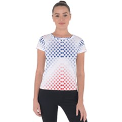 Dots Pointillism Abstract Chevron Short Sleeve Sports Top  by AnjaniArt