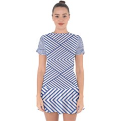 Directional Lines Stripes Movement Drop Hem Mini Chiffon Dress by AnjaniArt