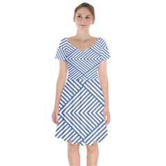 Directional Lines Stripes Movement Short Sleeve Bardot Dress