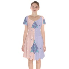 Geometry Figures Short Sleeve Bardot Dress