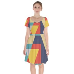 Form Abstract Modern Color Short Sleeve Bardot Dress by AnjaniArt