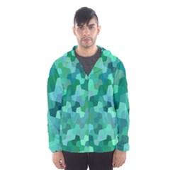 Green Mosaic Geometric Background Hooded Windbreaker (men) by AnjaniArt