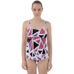 Geometric Elements Twist Front Tankini Set