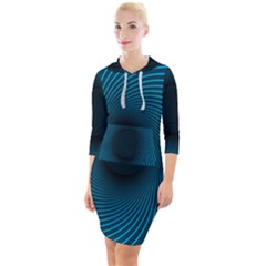 Background Spiral Abstract Quarter Sleeve Hood Bodycon Dress