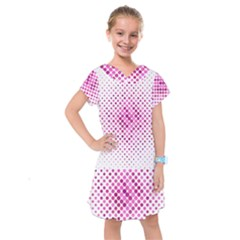 Dot Pattern Circle Pink Kids  Drop Waist Dress