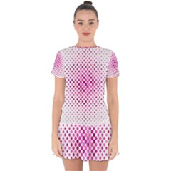 Dot Pattern Circle Pink Drop Hem Mini Chiffon Dress by Jojostore