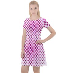 Dot Pattern Circle Pink Cap Sleeve Velour Dress  by Jojostore