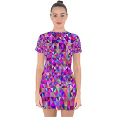 Floor Colorful Colorful Triangle Drop Hem Mini Chiffon Dress by Jojostore