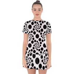 Dots Round Black And White Drop Hem Mini Chiffon Dress by Jojostore
