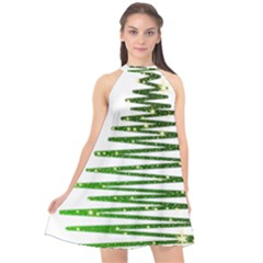 Christmas Tree Spruce Halter Neckline Chiffon Dress  by Mariart