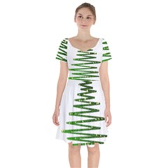 Christmas Tree Spruce Short Sleeve Bardot Dress by Mariart