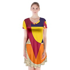 Circle Half Circle Colorful Short Sleeve V Neck Flare Dress by Mariart