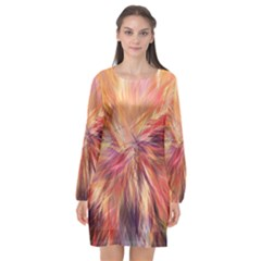 Color Background Structure Lines Long Sleeve Chiffon Shift Dress  by Mariart