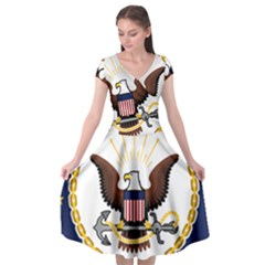 Seal Of United States Navy Reserve Cap Sleeve Wrap Front Dress by abbeyz71