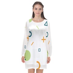 Geometry Triangle Line Long Sleeve Chiffon Shift Dress  by Mariart