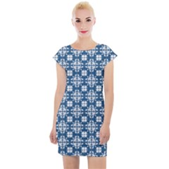 Flower Decorative Ornamental Cap Sleeve Bodycon Dress by Mariart