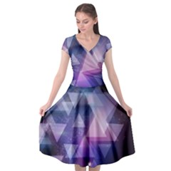 Geometric Triangle Cap Sleeve Wrap Front Dress by Mariart