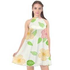 Flowers Leaf Stripe Pattern Halter Neckline Chiffon Dress  by Mariart