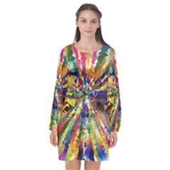 Colorful Prismatic Chromatic Long Sleeve Chiffon Shift Dress