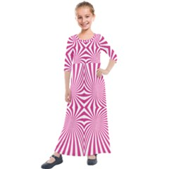 Hypnotic Psychedelic Abstract Ray Kids  Quarter Sleeve Maxi Dress by Alisyart