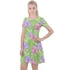Lily Flowers Green Plant Cap Sleeve Velour Dress  by Alisyart
