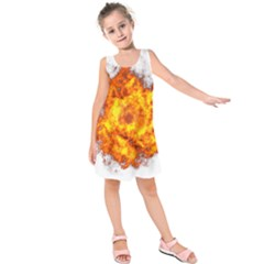 Fire Transparent Kids  Sleeveless Dress