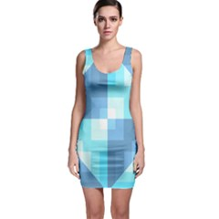 Fabric Cotton Aqua Blue Patchwork Bodycon Dress by AnjaniArt