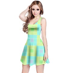 Grid Geometric Pattern Colorful Reversible Sleeveless Dress by AnjaniArt