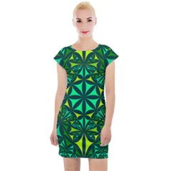 Green Triangle Pattern Kaleidoscope Cap Sleeve Bodycon Dress by AnjaniArt