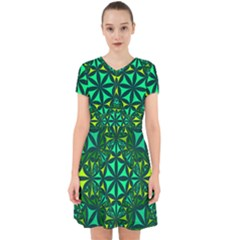 Green Triangle Pattern Kaleidoscope Adorable In Chiffon Dress by AnjaniArt