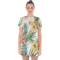 Hawaii Pineapple Wallpaper Tropical Plants Drop Hem Mini Chiffon Dress by AnjaniArt