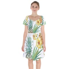 Hawaii Pineapple Wallpaper Tropical Plants Short Sleeve Bardot Dress
