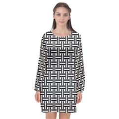 Line Pattern Long Sleeve Chiffon Shift Dress