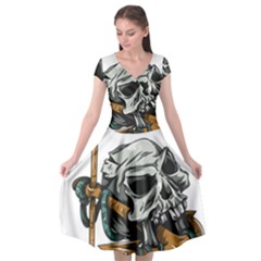 Horror Skeleton Material Cap Sleeve Wrap Front Dress by AnjaniArt