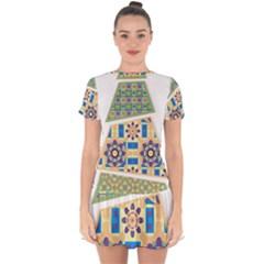 Hristmas Tree Triangle Drop Hem Mini Chiffon Dress