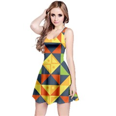 Geometric Color Reversible Sleeveless Dress by Jojostore