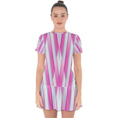 Geometric Chevron Pink Drop Hem Mini Chiffon Dress