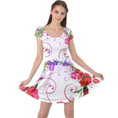 Flowers Floral Cap Sleeve Dress by Jojostore