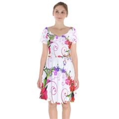 Flowers Floral Short Sleeve Bardot Dress
